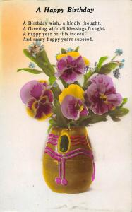 A Happy Birthday, kindly, blessings, happy years succeed, pansy, vase 1929