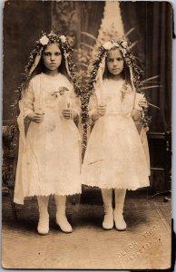 Fabulous double communion portrait two angry girls Hazelton PA RPPC The Shining