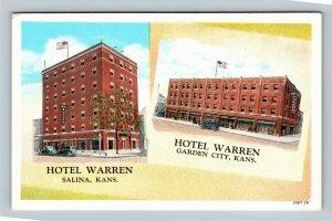 Garden City - Salina KS, Hotel Warren Advertising, Vintage Kansas Postcard