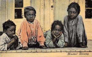 Black Americana~Mischief Brewing Four Little Kids on Porch~Chin in Hands~1907