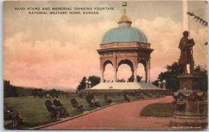 Leavenworth, KS Postcard Band Stand, National Military Home Hand-Colored 1910s