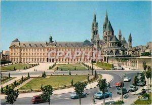 Postcard Moderne Caen Hotel de Ville and Abbaye aux Hommes Church St Etienne XII