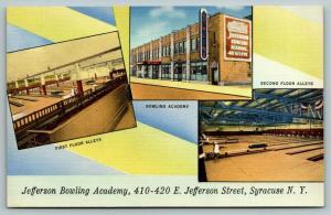 Syracuse NY~Jefferson Lanes Bowling Academy~40 Alleys~Interior~1940s ART DECO