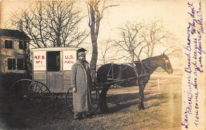 Georgetown MA R.F.D. #1 Mail Carrier Horse & Wagon RPPC Postcard