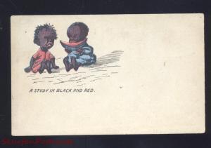 BLACK AMERICANA NEGRO CHILDREN EATING WATERMELON ANTIQUE