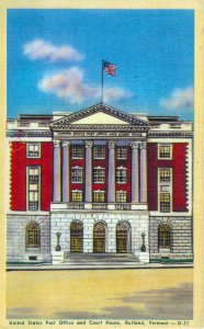 [ Linen ] US Vermont Rutland - Post Office And Court House