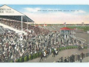 Unused Linen RACE TRACK AT STATE FAIR PARK Dallas Texas TX c7843
