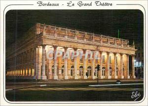 Postcard Modern Bordeaux Grand Theater Night