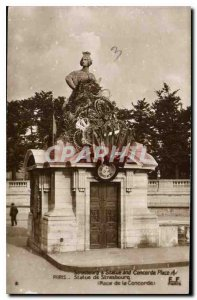 Old Postcard Strasbourg Statue and Place Concorde Paris Statue of Strasbourg ...