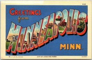 MINNEAPOLIS Minn. Large Letter Postcard City of Lakes & Parks Curteich Linen