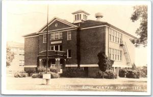 Sioux Center, Iowa RPPC Photo Postcard PUBLIC SCHOOL Building View 1946 Cancel