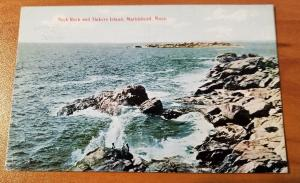 Antique Postcard, Neck Rock and Tinkers Island, Marblehead, MA