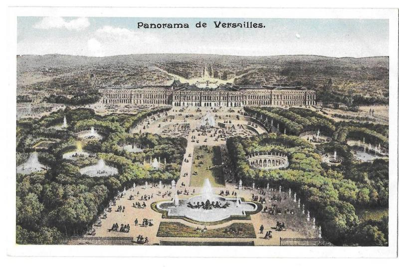 France Versailles Palace Aerial View Panorama Postcard