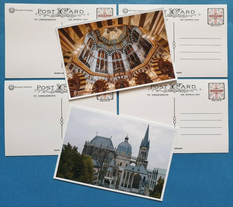 Set of 6 Stunning Colour New Glossy Postcards of Aachen Cathedral, Germany