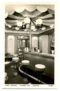 Cunard Line - RMS Carinthia, Tourist Soda Fountain    *RPPC