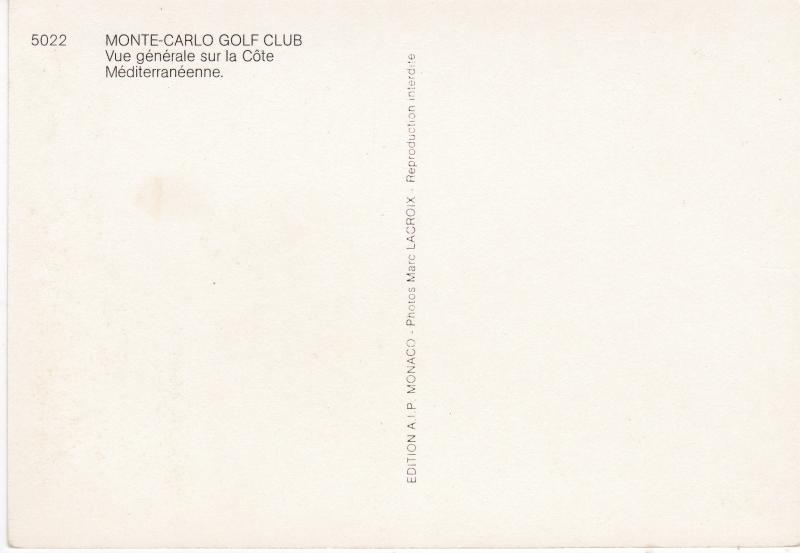 postcard Monte Carlo Golf Club unused No 5022 view of the Coast