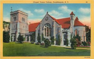 Poughkeepsie New York~Vassar College~Chapel~Battlements~1940s Postcard