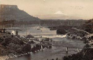 LPS99 Rogue River Oregon Postcard RPPC Gold Ray Dam Aerial View Bridge