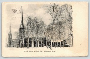 Coldwater Michigan~Military Park in Winter~Cannon in Snow~Churches~1909 B&W PC