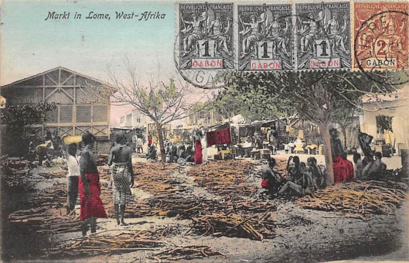 Gabon West-Afrika Markt in Lome, Africa, Market, Commerce 1907