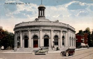 Post Office, Kingston New York Automobiles Street Scene c1919 Postcard F23