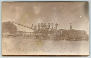 Real Photo Postcard~Farmers & Workers on Threshing Machine~Wagon~Pitchforks~1912