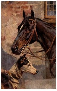 Horse with Dog ,   artist signed