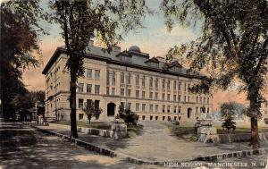 MANCHESTER NEW HAMPSHIRE HIGH SCHOOL POSTCARD 1914
