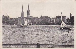 Sailboats, Gruss Aus Hamburg, Germany, 1900-1910s