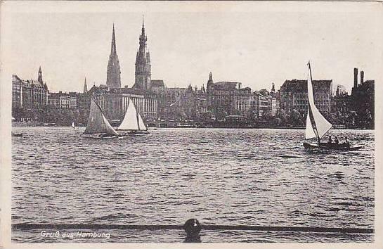 Sailboats, Gruss Aus Hamburg, Germany, 1900-1910s