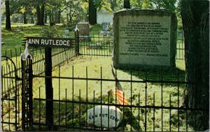 Ann Rutledge Grave Petersburg IL Illinois Oakland Cemetery Unused Postcard D74