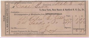 1876 Freight Receipt, NEW YORK, NEW HAVEN & HARTFORD R.R. CO., Dr. Hartford, CT.
