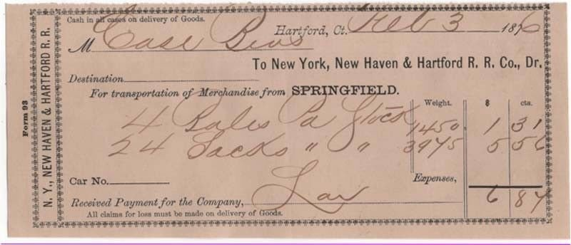 1876 Freight Receipt, NEW YORK, NEW HAVEN & HARTFORD R.R. CO., Dr. Hartford, CT.