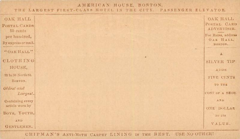 U.S. 1870 Oak Hall Advert American House Hotel Boston Chipman`s anti moth carpet