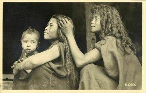 indonesia, FLORES, Lesser Sunda, Native Girls Fleeing (1940s) RPPC Mission (1)