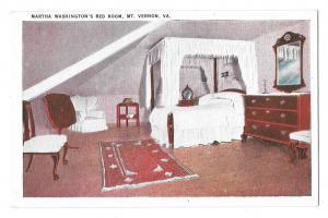VA Mount Vernon Martha Washington's Bedroom Vintage Postcard