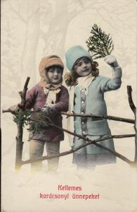 Hungary lovely children couple Christmas greetings early postcard