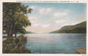 New York Cooperstown Otsego Lake From Source Of Susqhehanna River Curteich