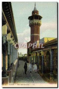 Tunisia Tunis Old Postcard Rue Sidi Ben Ziad