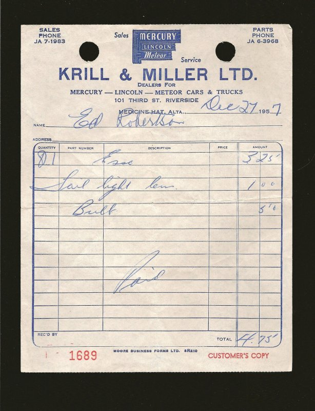 Krill Miller Ltd Mercury Lincoln Medicine Hat 1957 Invoice Used PLEASE READ NOTE