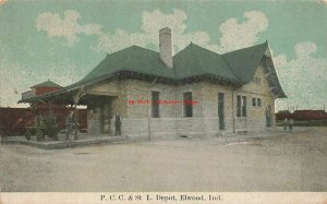 IN, Elwood, Indiana, Panhandle Railroad Train Station Depot, 1911 PM
