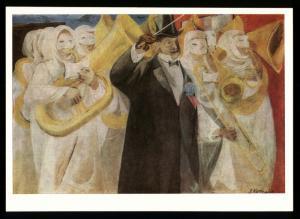 ANTI RACIST Ku Klux Klan KKK Black Americana MUSIC Art Anton Refregier Postcard