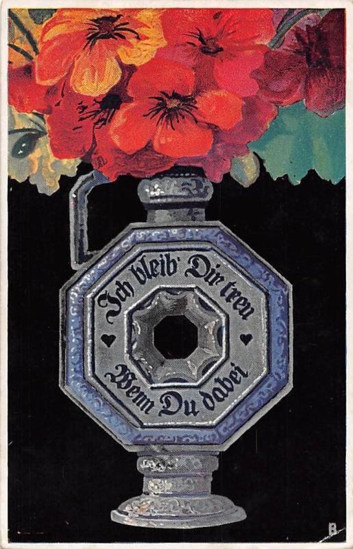 Moderne Kunst Kruge Originalen V. St. Bender Nr. 186 Flowers Poppy