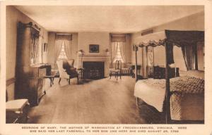 FREDERICKSBURG VIRGINIA MARY WASHINGTON'S BEDROOM~LAST FAREWELL & DIED POSTCARD
