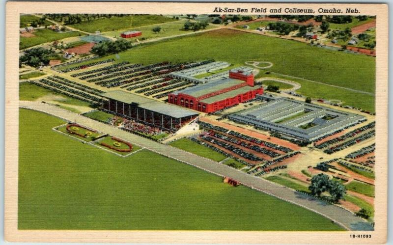 Omaha, Nebraska Postcard Ak-Sar Ben Field & Coliseum Aerial View Linen c1940s