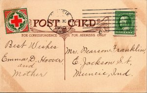 AMERICAN RED CROSS STAMP -  GOOD WISHES - VINTAGE POSTCARD