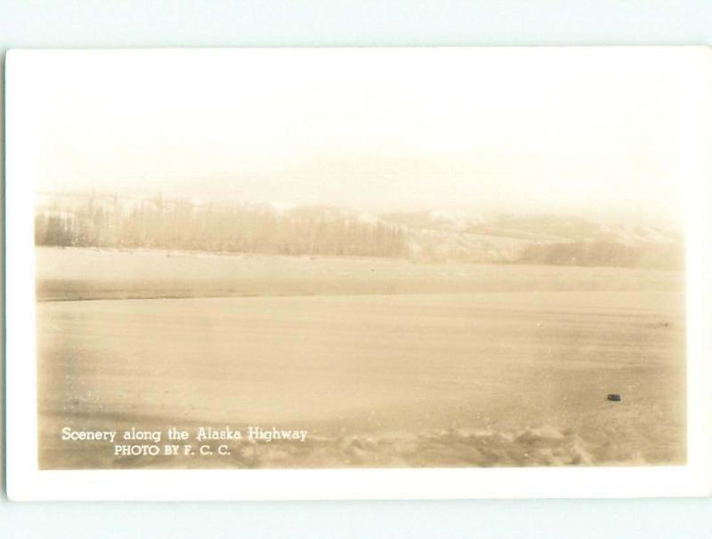 Pre-1949 rppc SCENERY ALONG ALASKA HIGHWAY Province Of British Columbia BC W1046