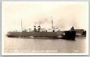 Ashtabula Ohio~Ferry Steamboat Entering Harbor RPPC c1928 Postcard