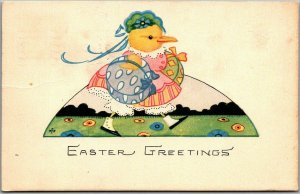 Vintage Gibson EASTER GREETINGS Postcard DRESSED CHICK w/ 1927 Cancel