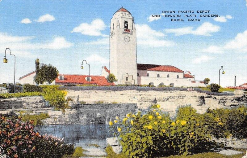 Boise Idaho~Union Pacific Depot And Howard Platt Gardens~1940 Postcard
